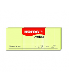 Notes autoadeziv 38x51 KORES, 3x100 file/set, galben