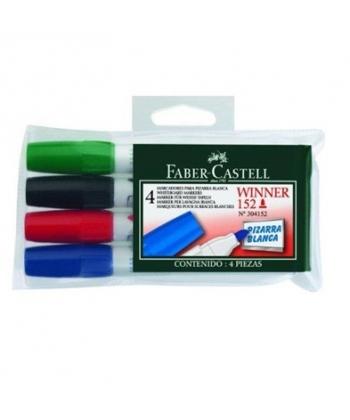 Marker whiteboard 3mm Faber Castell 152, varf rotund - 4/set