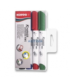 Marker whiteboard 3mm Kores, varf rotund - 4/set