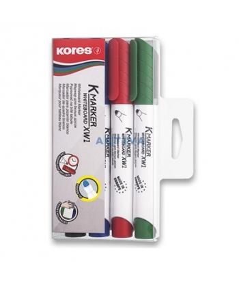 Marker whiteboard 3mm Kores, varf rotund - 4/set