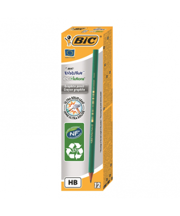Creion grafit HB Bic Evolution cu guma, corp verde, 12buc/cutie