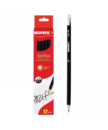 Creion grafit HB Kores cu guma, corp negru, 12buc/cutie